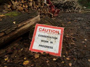 Bradfield Woods - caution sign