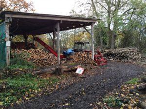 Bradfield Woods: wood yard