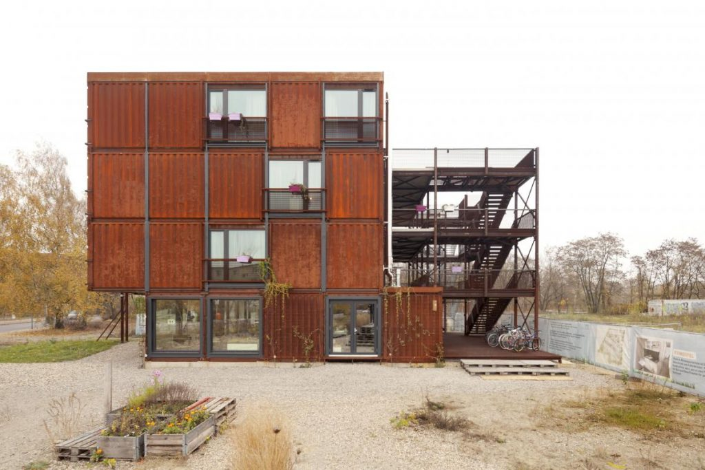 Shipping container homes for students in Berlin