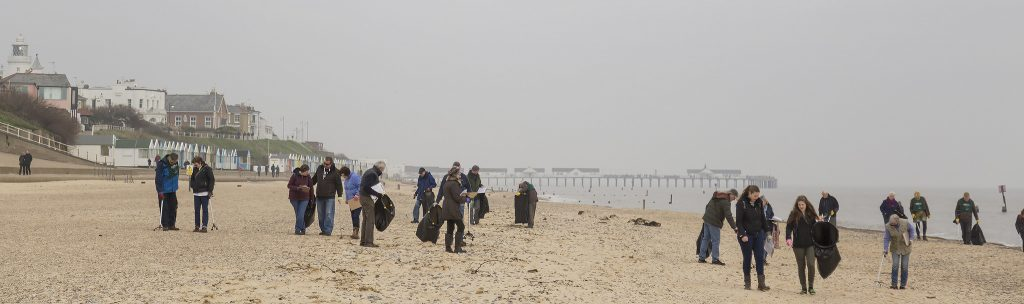 Adnams-led beach clean at Southwold