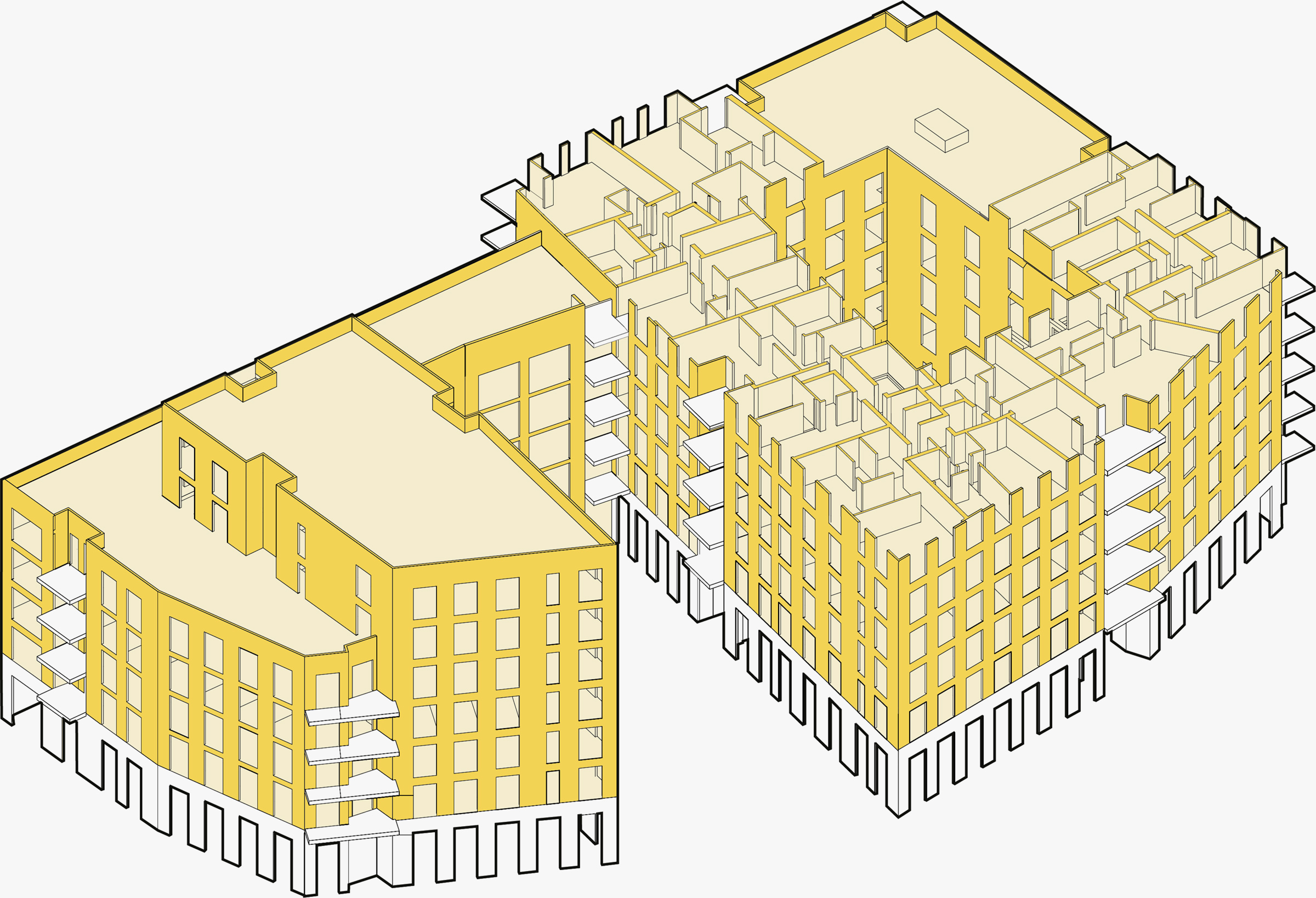 Dalston Works: sectional drawing, showing CLT panel construction