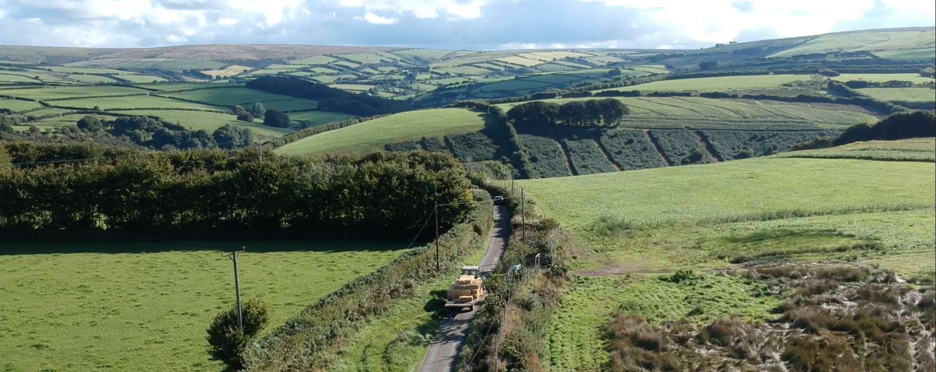 Exmoor straw house: bales coming over the moor