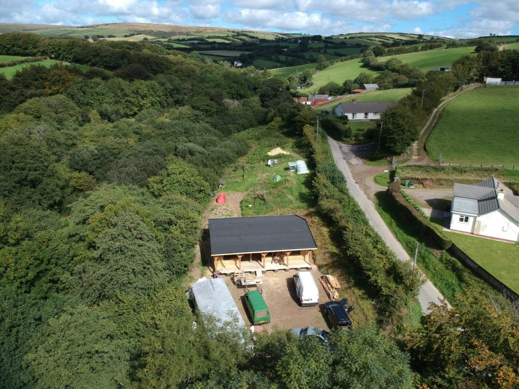 Exmoor straw bale house - aerial view